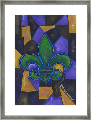 Green Fleur De Lis Framed Print by Patti Schermerhorn