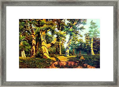 Framed Print featuring the painting   Green Summer-the Oak Forest by Henryk Gorecki