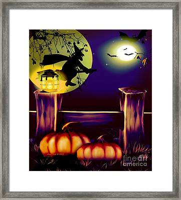 Halloween Witches Moon Bats And Pumpkins Framed Print