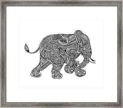 Hand Drawn Isolated Ethnic Elephants Framed Print