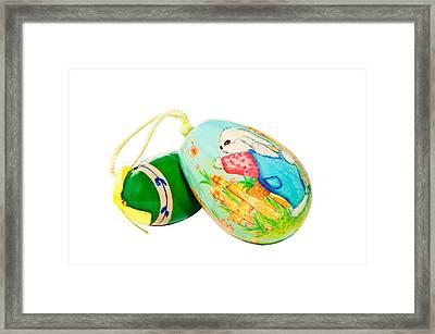 Hand Painted Easter Eggs Framed Print by Susan Leggett