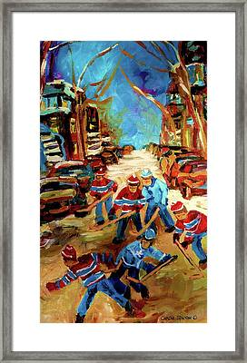 Hockey Paintings Of Montreal St Urbain Street Winterscene Framed Print by Carole Spandau