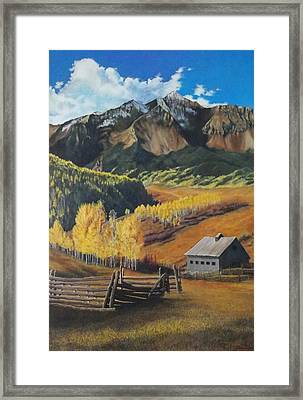 Framed Print featuring the painting  I Will Lift Up My Eyes To The Hills Autumn Nostalgia  Wilson Peak Colorado by Anastasia Savage Ealy