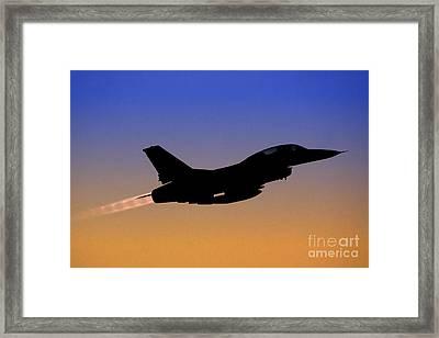 Iaf F-16b Fighter Jet At Sunset Framed Print