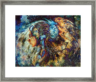 Indian Woman Wearing  Feather Headdress With Lion And Abstract Color Collage. Framed Print by Jozef Klopacka