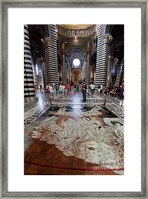 Interior Of Siena Cathedral, Italian Duomo Di Siena With Mosaic Floor Framed Print