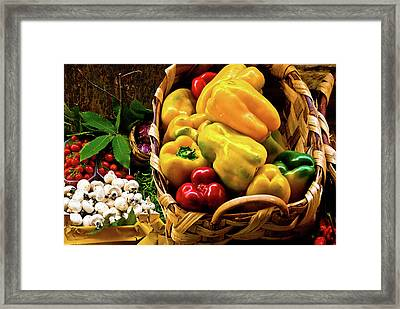 Framed Print featuring the photograph  Italian Peppers  by Harry Spitz