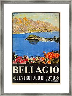 Italy Bellagio Lake Como Vintage Italian Travel Advert Framed Print