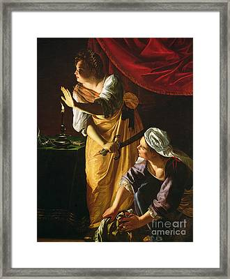 Judith And Maidservant With The Head Of Holofernes Framed Print by Artemisia Gentileschi