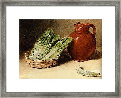 Jug A Cabbage In A Basket  Framed Print