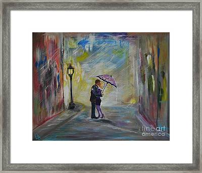 Kiss Me Taxi Is Here Framed Print