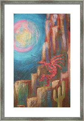 Kokopelli Moon Painting Framed Print by Anne-Elizabeth Whiteway