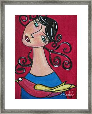 Lady And The Bird Framed Print