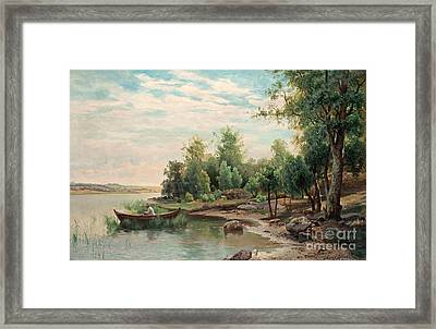 Lake With Angling Man In A Boat Framed Print by MotionAge Designs