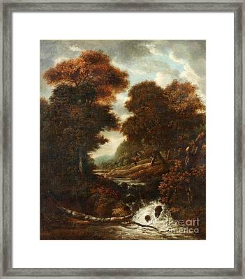 Landscape With Figures And Waterfall. Framed Print