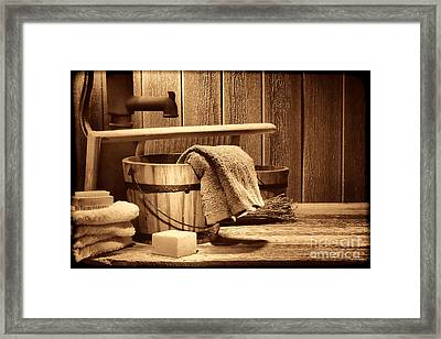 Laundry At The Ranch Framed Print by American West Legend By Olivier Le Queinec