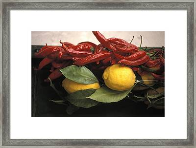 Lemons And Dried Red Peppers  For Sale Framed Print