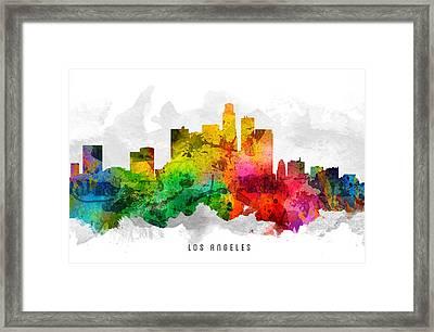 Los Angeles California Cityscape 12 Framed Print