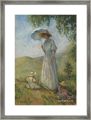 Madame Lebasque In The Sun With Marthe And Nono Framed Print by Celestial Images