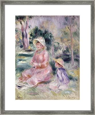 Madame Renoir And Her Son Pierre Framed Print by Pierre Auguste Renoir