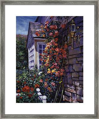 Magnificent Climbing Roses Framed Print by David Lloyd Glover