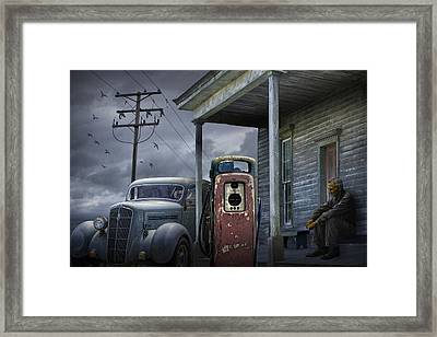 Man Lost In Thought By The Vintage Gas Station Framed Print