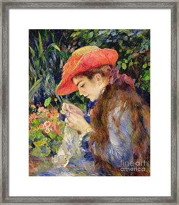 Marie Therese Durand Ruel Sewing Framed Print by Pierre Auguste Renoir