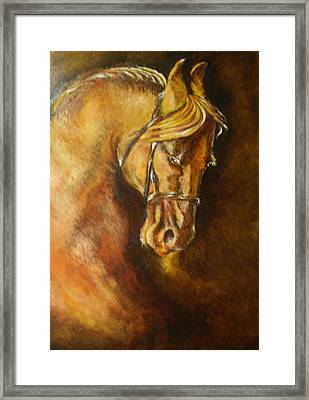 A Winning Racer Brown Horse Framed Print by Remy Francis