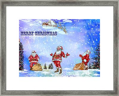 Framed Print featuring the painting  Merry Christmas To My Friends In The Faa by Andrzej Szczerski