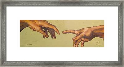 Michelangelos Creation Of Adam 1510 Framed Print by Eric Dee