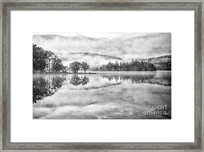 Misty Morning Ledard Point Loch Ard Framed Print by Richard Burdon