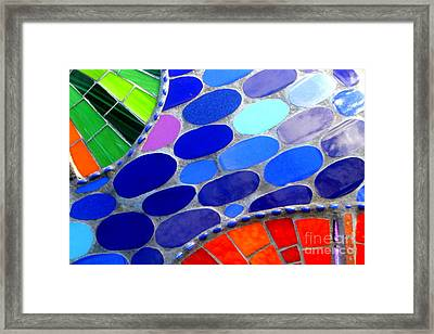 Mosaic Abstract Of The Blue Green Red Orange Stones Framed Print
