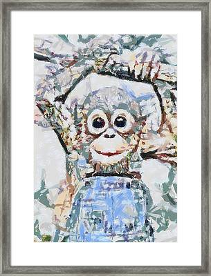 Monkey Rainbow Splattered Fragmented Blue Framed Print