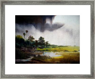Monsoon Village  Framed Print by Samiran Sarkar
