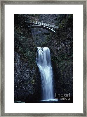 Framed Print featuring the photograph  Multnomah Falls by Edward R Wisell