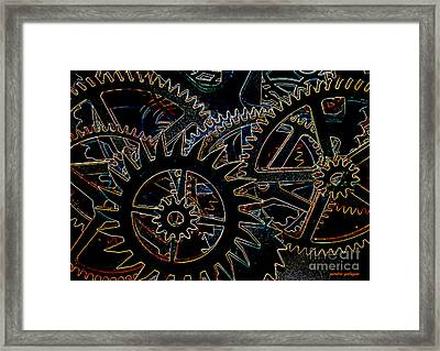 Neon Cogs And Gears  Framed Print by Sandra Gallegos