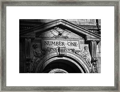 Number One Building In Black And White Framed Print by Val Black Russian Tourchin