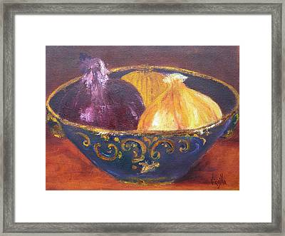 Onion Paintings - Rustic Bowl With Onions Virgilla Art Framed Print by Virgilla Lammons