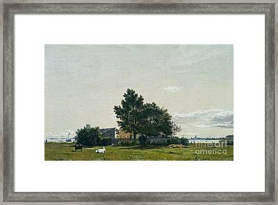 Party Near The Lime Kiln With Views Towards The Copenhagen  Framed Print by Celestial Images