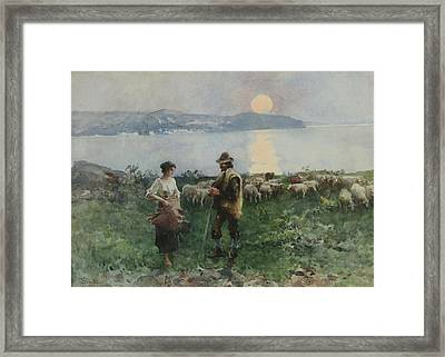 Pastori In Riva Al Mare Acquerello Framed Print