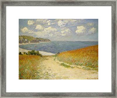 Path In The Wheat At Pourville Framed Print