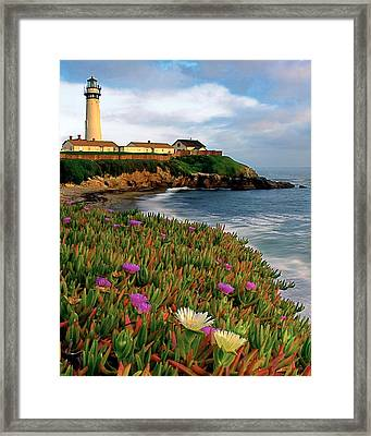 Pigeon Point Lighthouse With Spring Wildflowers Framed Print by George Oze