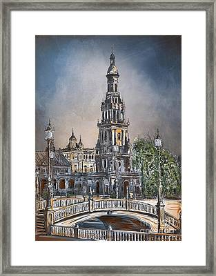 Framed Print featuring the painting  Plaza De Espana In Seville by Andrzej Szczerski