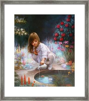 Pond And Girl Framed Print