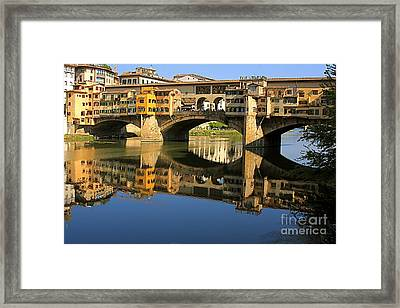 Ponte Vecchio Reflection Framed Print by Nicola Fiscarelli