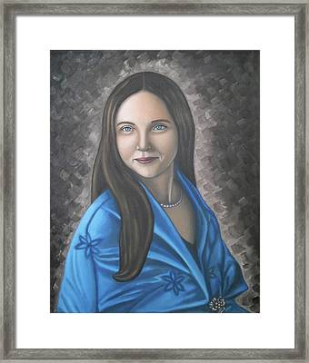 Portrait Of A Lady Oil On Canvas Painting  Framed Print