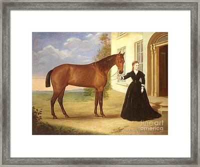 Portrait Of A Lady With Her Horse Framed Print by English School