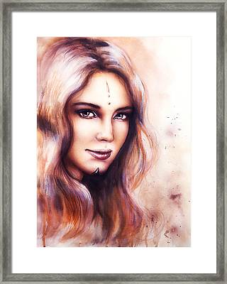 Portrait Of A Young Enchanting Woman Face With Long Wavy Hint Of Woodland Fairy Wisdom Sparkling  Framed Print