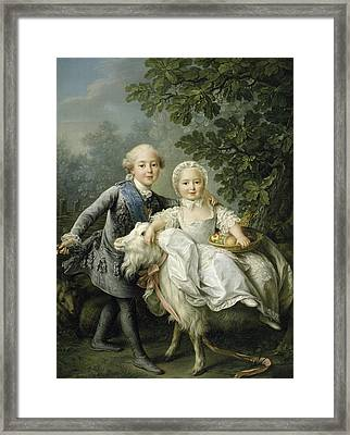 Portrait Of Charles Philippe Of France And His Sister Marie Adelaide Framed Print
