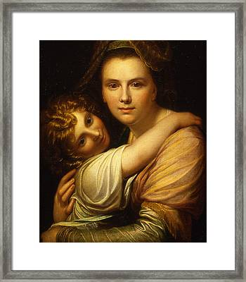 Portrait Of The Artists Wife And Daughter  Framed Print by Richard Cosway
